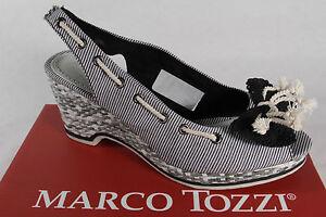 marco tozzi damen sandalen sandaletten schwarz weiss keilabsatz neu ebay. Black Bedroom Furniture Sets. Home Design Ideas