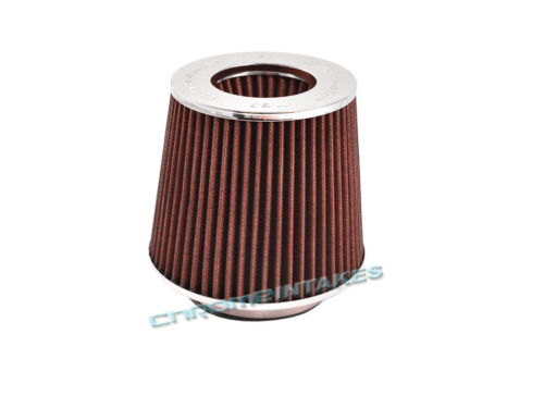 """RED UNIVERSAL 3.5/"""" 89mm DRY CONE AIR FILTER FOR CHEVY SHORT//COLD AIR INTAKE"""
