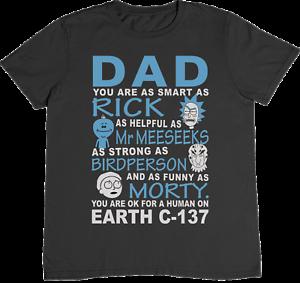 Dads Rick /& Morty padres día dibujos animados para adultos inspirado Camiseta Ventilador Para hombre 100/% algodón