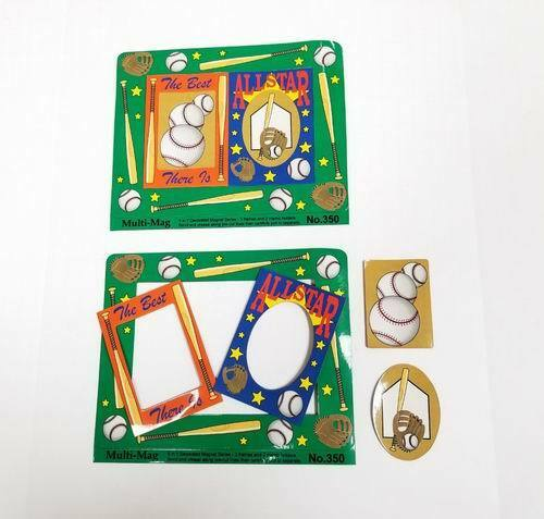 Baseball Themed Decorated Punch Out Magnet Picture Frames Lot of 100 Pieces