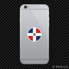 Round Dominican Flag Cell Phone Sticker Mobile Die Cut Dominican Republic do