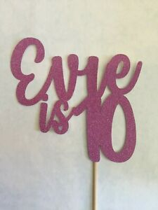 Custom-Cake-Topper-Happy-10th-11th-18th-21st-Any-age-Pink-Glitter-Any-Word-Name