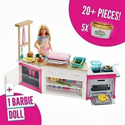 Barbie Ultimate Kitchen Lights /& Sounds Interactive Playset 20 Pieces With Doll