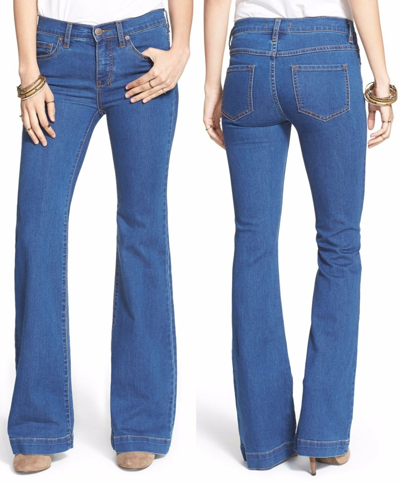 Free People OB412721 Dallas bluee Stretch Mid Rise Vintage Flare Jeans