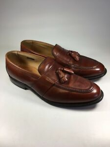 Image is loading Allen-Edmonds-Biscayne-Brown-Leather-Tassel-Loafers-Shoes- 521169d8325