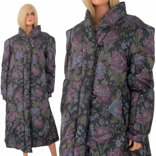 Vtg 80s DOWN STADIUM PUFFER Long Puffy Coat FLORAL Stroller Printed Graphic LXL