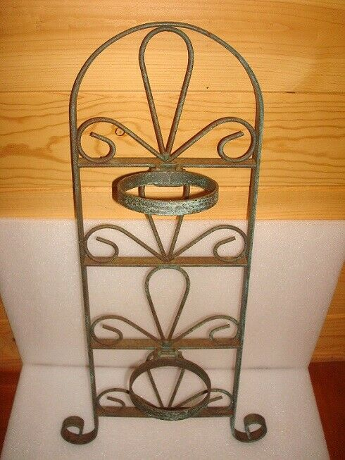 """ANTIQUE   VINTAGE HEAVY WROUGHT IRON WALL MOUNT DBLE POT PLANT HOLDER 23""""TALL"""