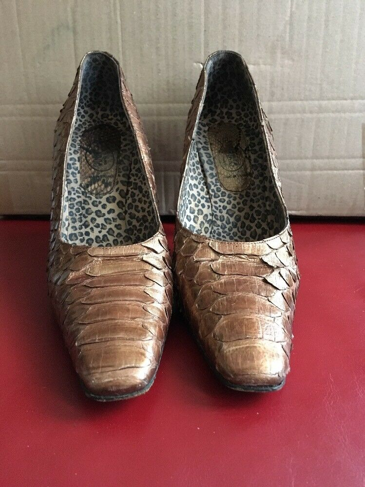 hot sale online f76e2 dde1a Zapatos señoras Free Lance piel de serpiente bronce Brown  40