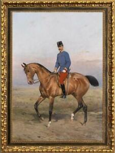 Old-Master-Art-Antique-Oil-Painting-Portrait-aga-horse-on-canvas-24-034-x36-034