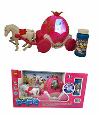 Battery Operated Child Pink Girls Bubbles Princess Carriage Pony + Light+Sound