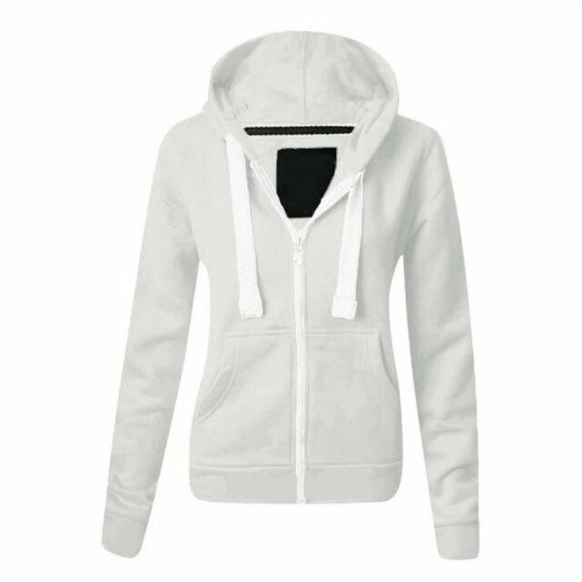 Ladies Womens Plain Hoody Coloured Hoodie Zip Up Jacket Fleece Sweatshirt Tops
