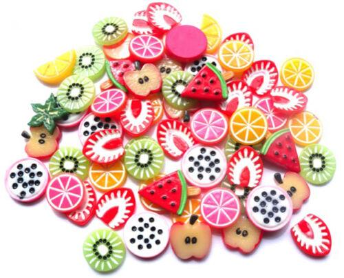 20 mezcla resina fruta Flatbacks-manzanas melón Pomelo Kiwi Naranja 8-10MM