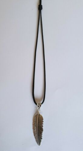 Gift Feather pendant Slip fastening silver plated Necklace Black cord