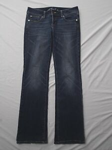 American-Eagle-blue-denim-jeans-stretch-slim-boot-cut-low-rise-sz-8-long-tall