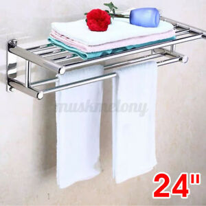 Wall Mounted Stainless Steel Bathroom Shelf Towel Holder Rack Shower Rail Bar