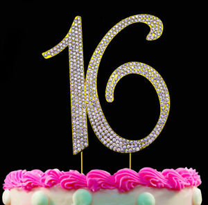 Marvelous 16Th Birthday Party Cake Topper Gold Cake Number 16 Sweet Sixteen Personalised Birthday Cards Akebfashionlily Jamesorg