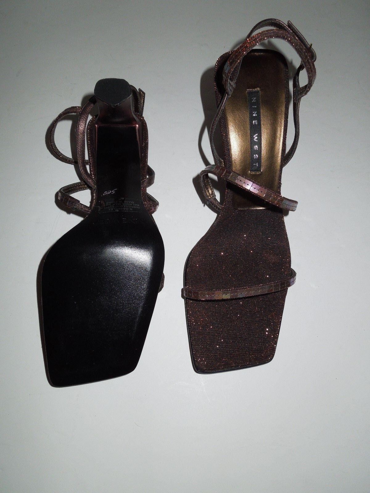 NWOT Metallic Nine West N-Gabelle4 Metallic NWOT Bronze Leather AB Sequin Gladiator Sandals 7M b18ff3