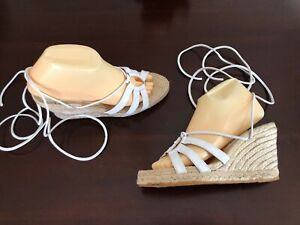 Image is loading Andre-Assous-White-Ankle-Wrap-Espadrille-Wedge-Sandals-