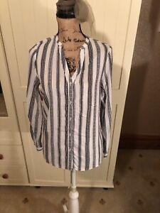 NEW-LOOK-Ladies-White-Black-Stripe-V-Neck-Long-Sleeve-Blouse-Shirt-Size-10