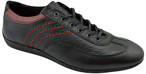 195-REACTOR-Black-Red-Leather-Driving-Casual-Sneakers-Men-Shoes