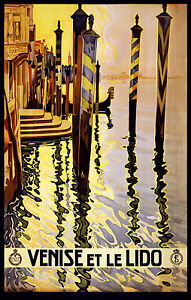 """Venice Italy Vintage painting Travel Poster art Print for Glass Frame 36/"""""""