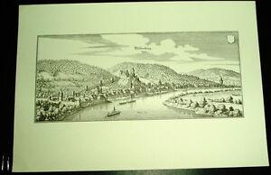 Miltenberg-alte-Ansicht-Merian-Druck-Stich-1650-Panora-Staedteansicht-Bayern