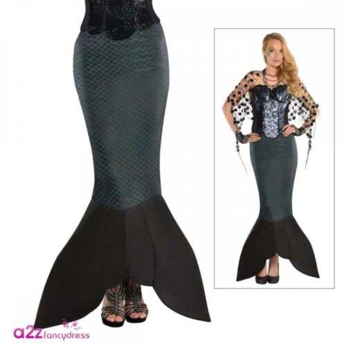 Le Signore Sea Siren Sirena Gonna Coda Nera Adulto Mitico Halloween Fancy Dress
