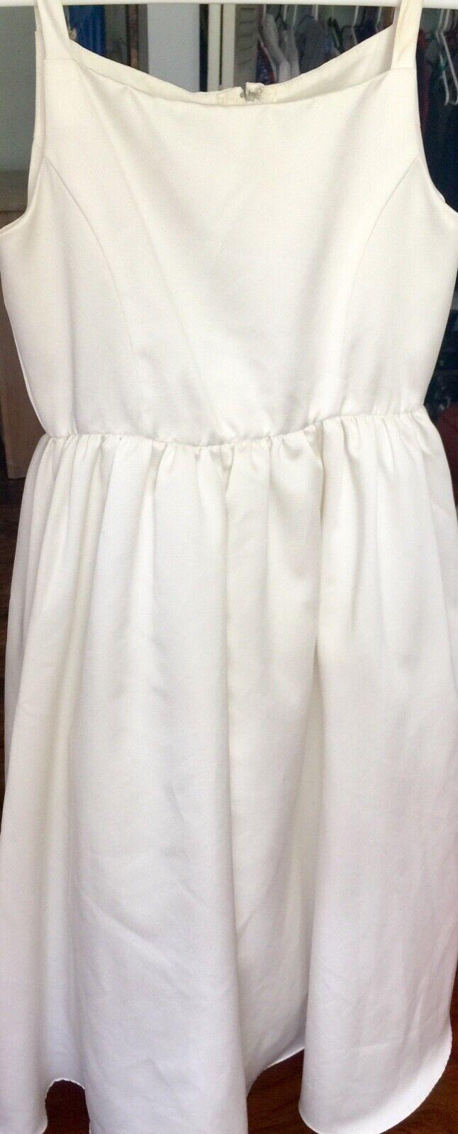 David's Bridal Girl ivory plain white dress 10T Y Holy Communion Flower wedding