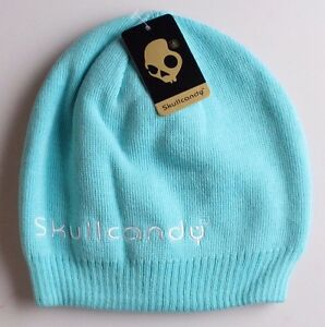 Image is loading Skullcandy-Ice-Turquoise -White-Reversible-Riot-Beanie-Winter- b864e0c5147