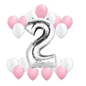 18x luftballon 2 geburtstag girl folienballon zahl ballon m dchen birthday set ebay. Black Bedroom Furniture Sets. Home Design Ideas