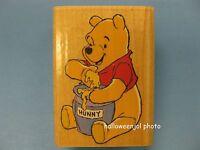Disney Rubber Stamp Winnie The Pooh Loves Hunny & Jar Wood Stampede A1183d