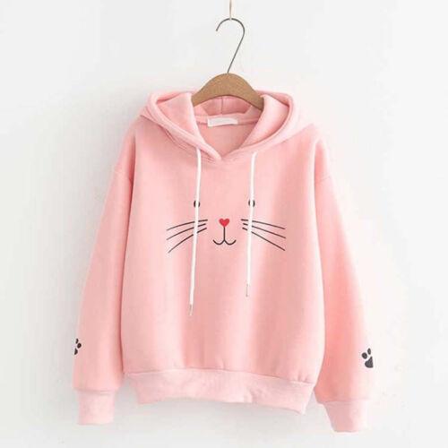 Women Cat Printed Hoodie Sweatshirt Autumn Hooded Sweater Jumper Pullover Top XU
