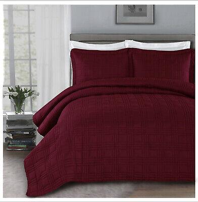 Chezmoi Collection 3pc Burgundy Matte Satin Quilt Bedspread Coverlet Blanket Set