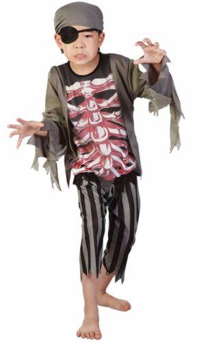 Ragazzi SCHELETRO PIRATA Halloween Horror Terrore Festa Costume Outfit Taglia 4-14 anni