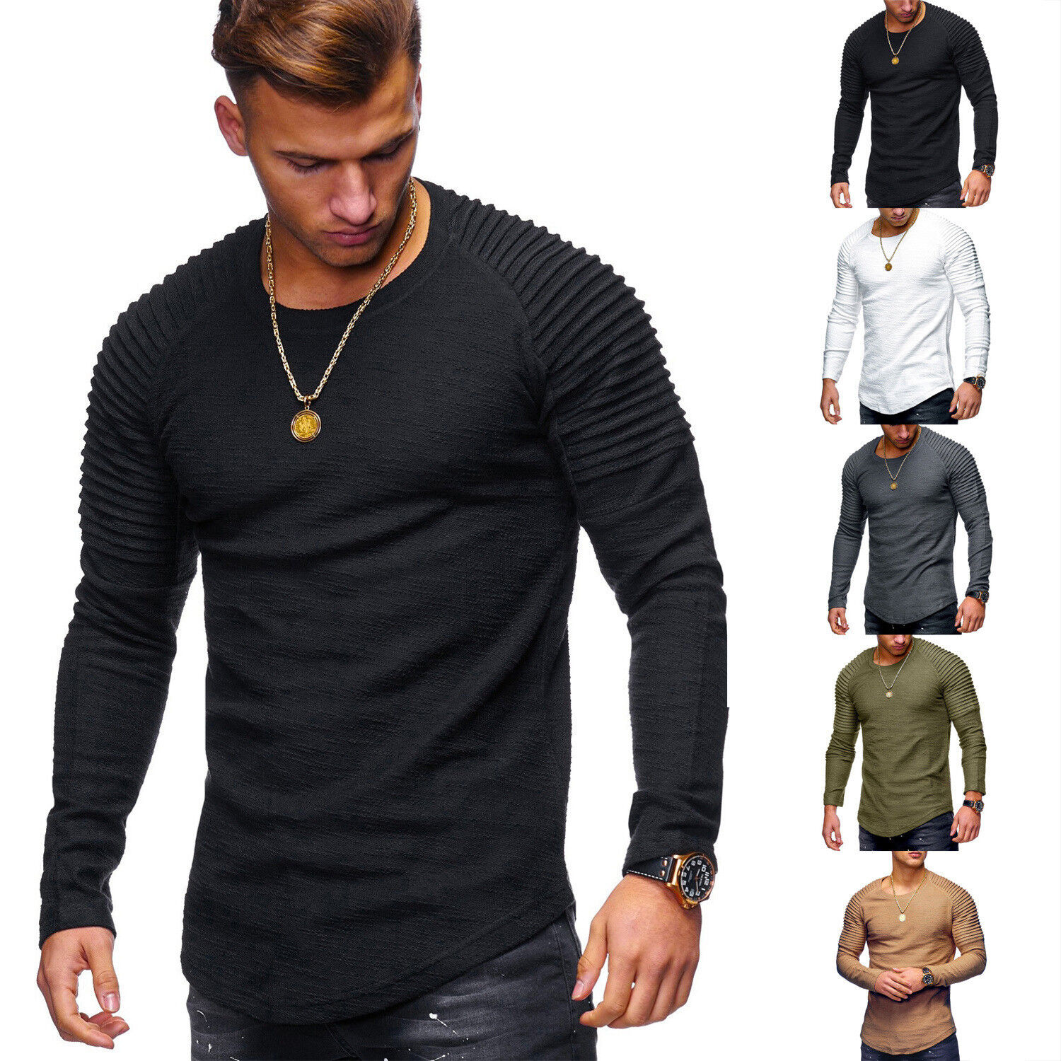 Thermal Men/'s Slim Fit O Neck Long Sleeve Muscle Tee T-shirt Top Blouse Casual