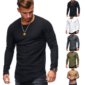 94e3395d Men's Slim Fit O Neck Long Sleeve Muscle Tee T-shirt Casual Tops ...