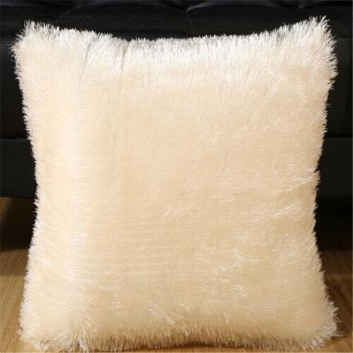 Throw Home Decor Soft Fur Fluffy Sofa Pillow Plush Luxury Cushion Cover 6 Color