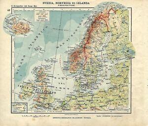 Cartina Geografica Norvegia Fisica.Carta Geografica Antica Svezia Norvegia Islanda Ante 1 Guerra 1914 Antique Map Ebay