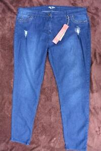 RIVERS-Mid-Blue-Denim-Jeans-Stretch-Mid-Rise-Size-20-NEW-Straight-leg-Stud-Trim