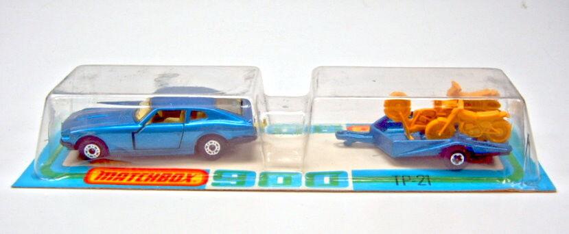 Matchbox TP-21 Datsun & Motorcycle Trailer met. blu mint rare french blister