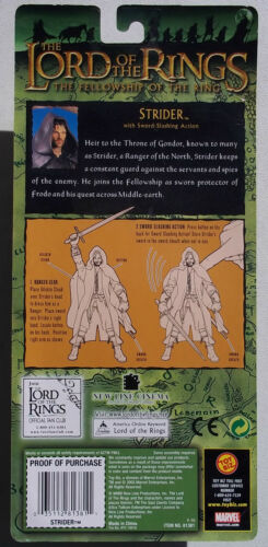 LOTR STRIDER ACTION FIGURE FELLOWSHIP OF THE RING W// SWORD SLASHING ACTION NOC