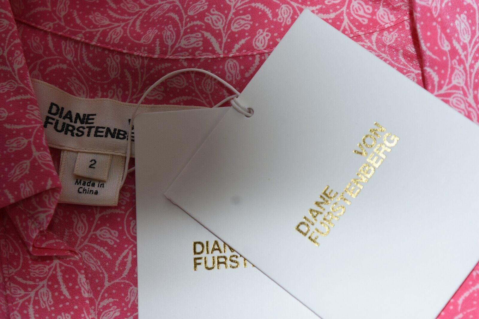 Nuovo Diane Von Furstenberg Dvf senza Maniche Lorelei Top Camicetta Camicetta Camicetta rosa Seta 2 1f5b96