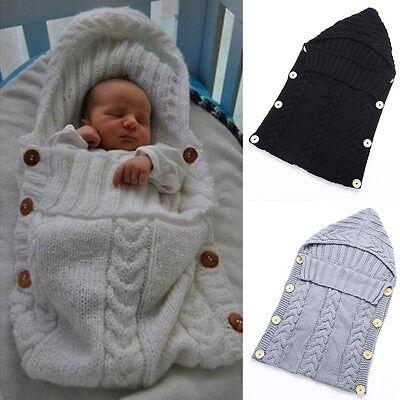 Newborn Baby Crochet Knit Swaddle Wrap Sleeping Bag Photography Prop