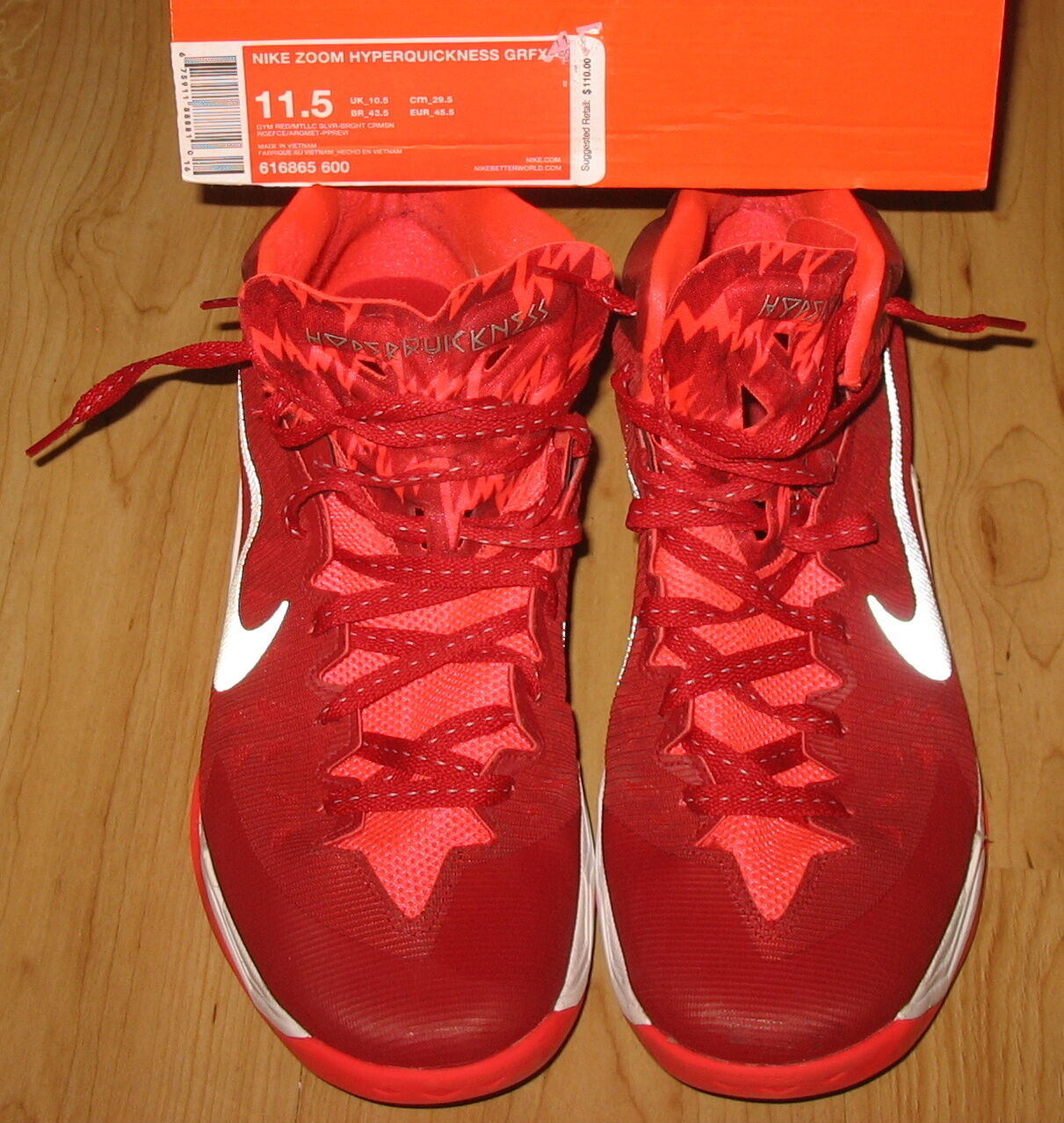NEW NIKE ZOOM HYPERQUICKNESS GRFX Basketball shoes MENS Sz 11.5 Red MSRP  110