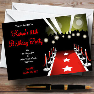 Image Is Loading Vip Red Carpet Personalised Party Invitations