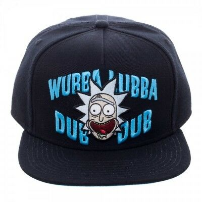 17f61e11793 OFFICIAL RICK AND MORTY - WUBBA LUBBA DUB DUB RICK BLACK SNAPBACK CAP (NEW)