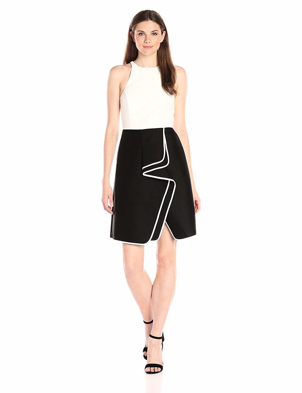 Halston Heritage Dress schwarz & Weiß Sleeveless NWT sz.4
