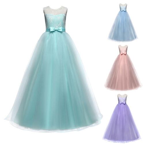 Las chicas Lang vestido de noche niños puntas vestido tul firmemente vestido boda vestido de baile