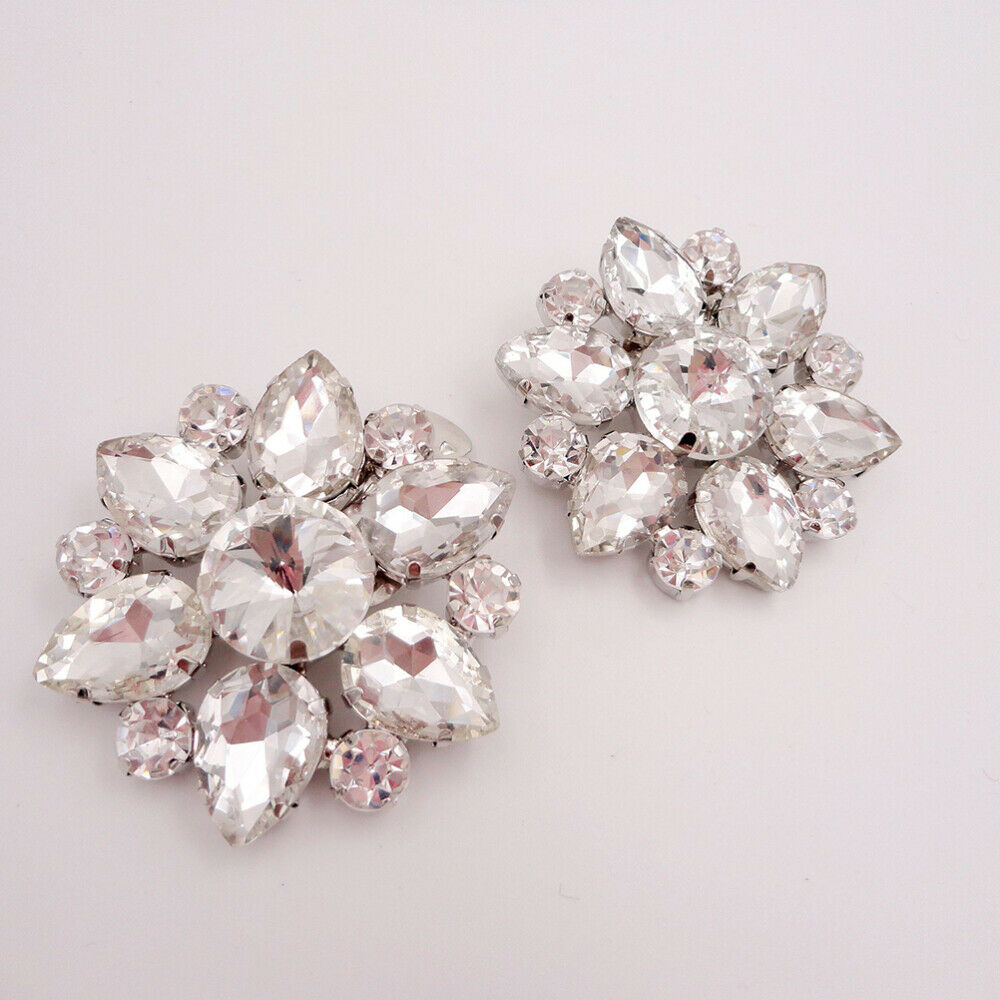 1 Pair Shoe Buckles Crystal Sparkly Shoe Clip DIY Accessories for Wedding