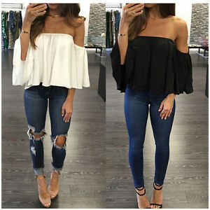Women-Off-Shoulder-Short-Sleeve-Fashion-Shirt-Casual-Blouse-Tops-Loose-T-shirt